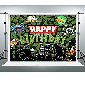 Cityscape Ninja Turtles Backdrop for Party Super City Happy Birthday Background Anime 7x5ft Photo Booth Banner for Cake Table Supplies LSVV1050
