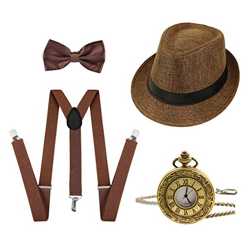 Ziyoot 1920s Accessories Men's Gatsby Gangster Costume Men Roaring 1920s Set Panama Y-Back Suspenders Bow Tie -