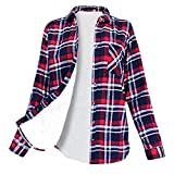 WOCACHI Final Clear Out Womens Plaid Button Down Shirt Thick Warm Fluffy Tops Long Sleeve Blouses Black Friday Cyber Monday Winter Bottoming Shirts Velvet Plush Outerwear (Navy, X-Large)