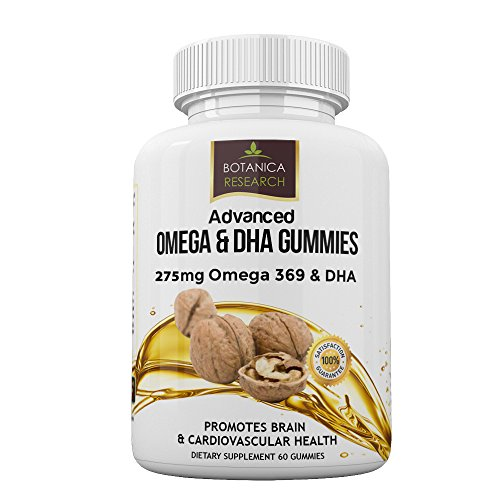 Omega 3 6 9 Chewable Gummy Supplement with DHA Vitamin C – Fatty Acids Vitamin For Cardio Vascular, Cognitive & Boost Immune System Support – No Fish Oil Taste 60 Triple Strength Gummies Botanica For Sale