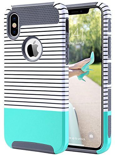 ULAK Dual Layer Case for iPhone X, Slim Fit Hybrid Hard PC Shell Flexible Shock Absorbing TPU Skin Protective Grip Cover for Apple iPhone X 5.8 Inch, Mint Stripes