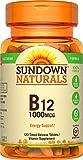 Sundown Naturals Vitamin B-12 1000 mcg, 120 Time Release Tablets, 2 Pack