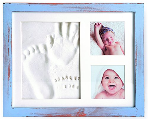 Baby Handprint Frame Kit and Footprint Mold with Clay and Name Stamps Shower Gift Blue