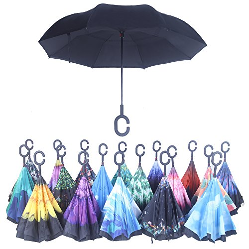 Strawberry Inverted Umbrella Carrying Black