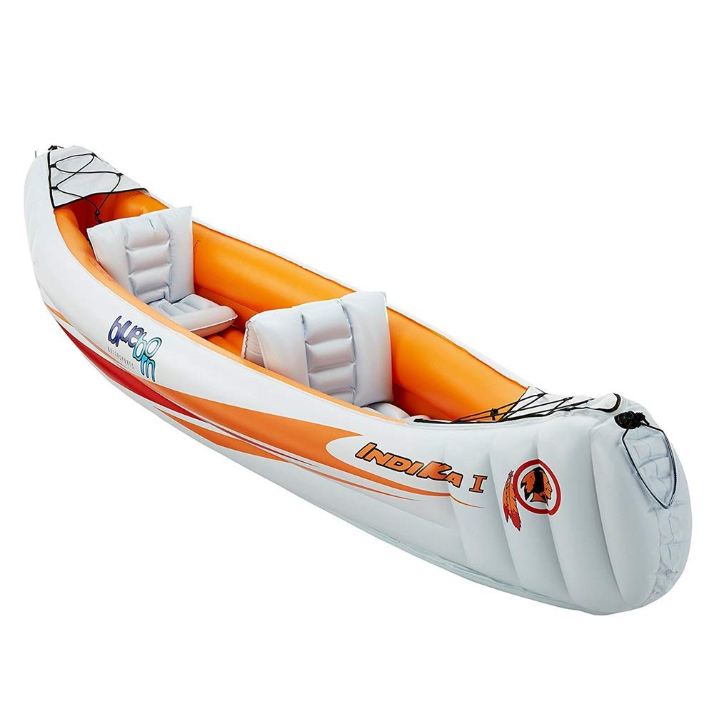 Double inflatable kayak Two Or Three Inflatable Boat Group Fishing Boat Thickening Kayak Inflatable Boat Hovercraft To Send Boat Propeller Air Pump Kayak set ( Color : Orange , Size : 32080cm ) by Teerwere-pht