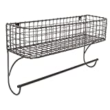 Home Traditions Z01947 Rustic Metal Wall Mount Shelf with Towel Bar