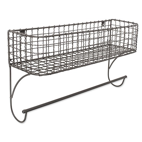Home Traditions Z01947 Rustic Metal Wall Mount Shelf with Towel Bar by Home Traditions