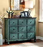 Furniture of America Camina Vintage Style Storage Chest, Antique Green/Brown
