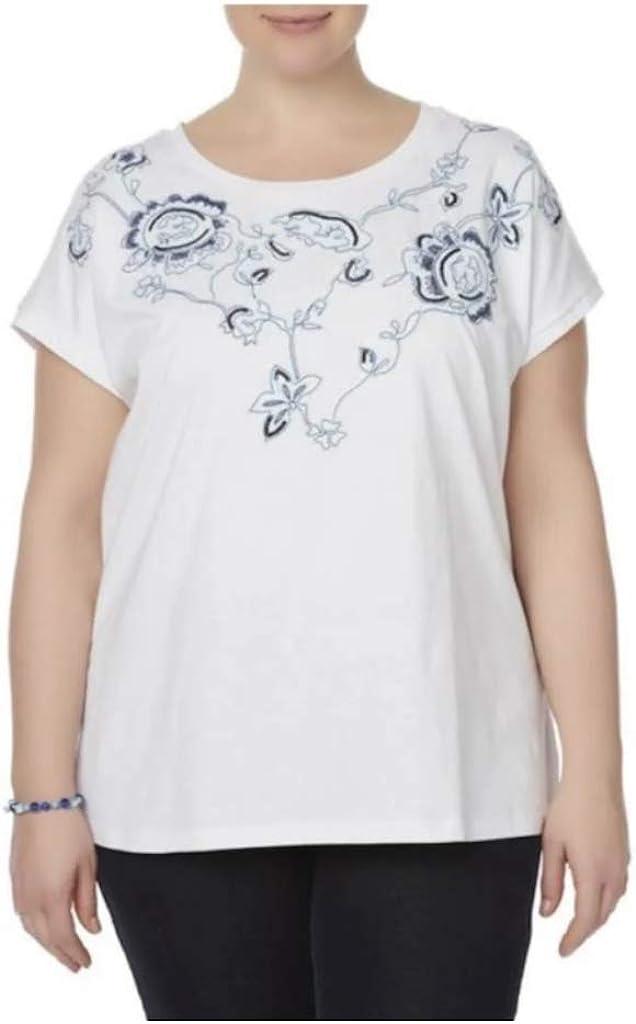 Laura Scott Women Plus Size 1x 2x 3x Pale Turquoise Teal Striped Tee T Shirt Top