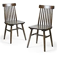 Adeco Elm Wood Vintage-Style Dining Chair with Vertical Slat Back, Dark Brown (Set of Two)