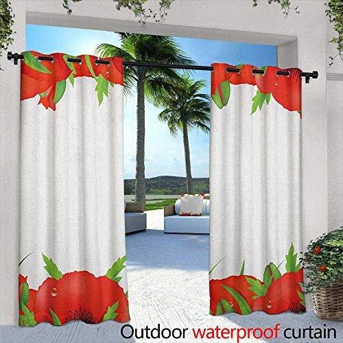 (Poppy Curtains for Living Room Perennial Gardening Bedding Plants Border with Booming Vibrant Petals Great for Living Rooms & Bedrooms 84