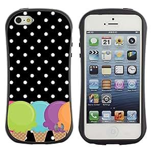 LASTONE PHONE CASE / Suave Silicona Caso Carcasa de Caucho Funda para Apple Iphone 5 / 5S / Cone Polka Dot Black White