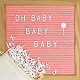 Pink Changeable Letter Board Set with 10 x 10 inch American Oak Frame, Pink Felt, 374 Precut Letters and Emojis, Wall Hook and Bag - Perfect Message Sign for Girl Baby Shower Decorations