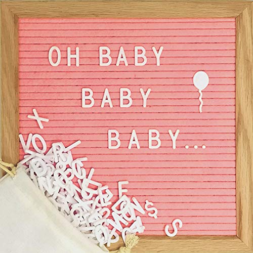 Pink Felt Letter Board Set with 10 x 10 inch Oak Frame, 374 Precut Letters and Emojis, Cursive Words, Wall Hook - Perfect Message Sign for Girl Baby Shower Decorations (Announcement Message For New Born Baby Girl)