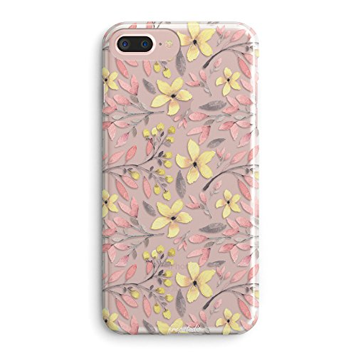 Angel Paisley (iPhone 7 Plus Case,iPhone 8 Plus Case,Floral Flowers Tender Pink Plants Leaves Succulents Cactus Yellow Blossom Daisy Cute Pink Case for Girls Clear Soft Case for iPhone 7 Plus/iPhone 8 Plus)