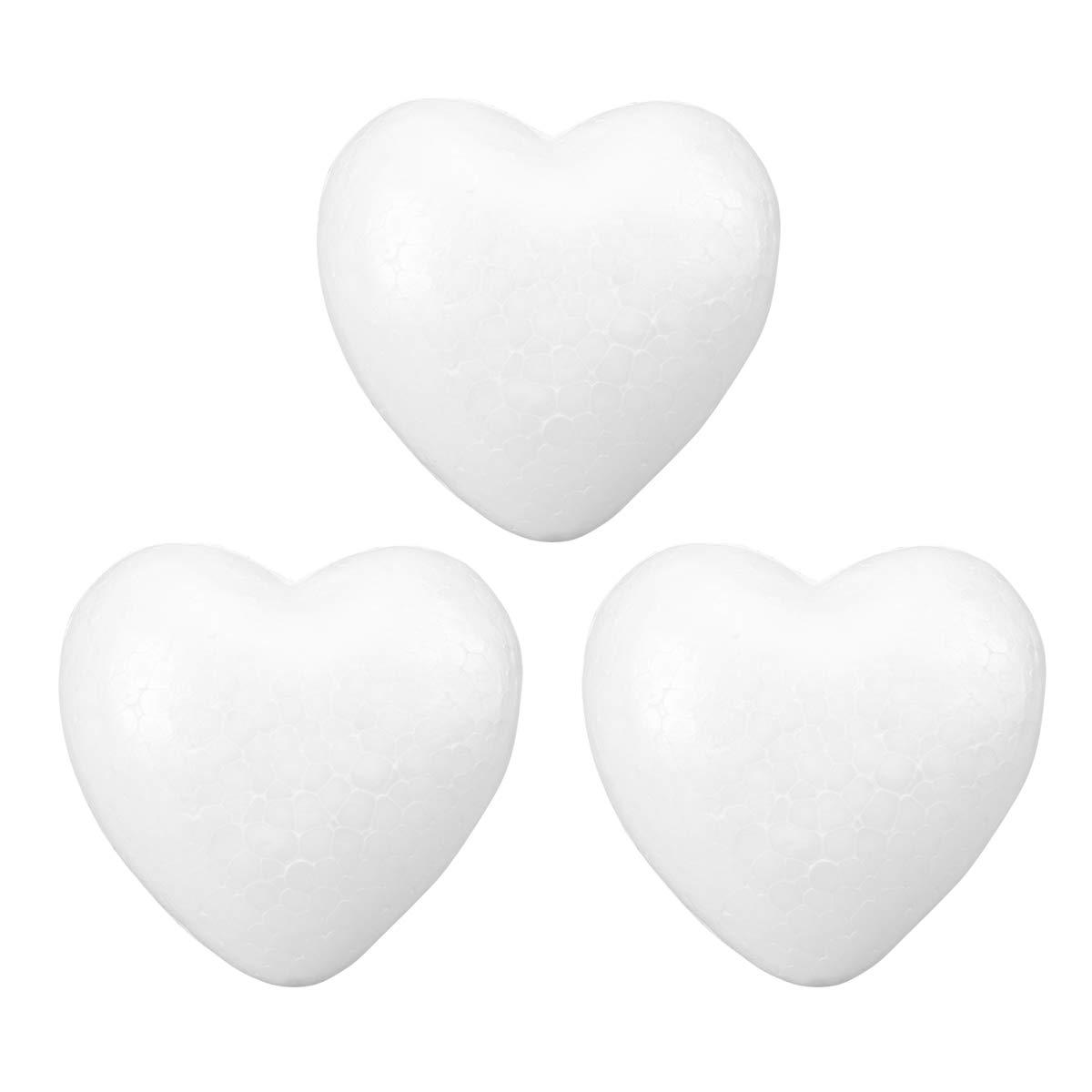 STOBOK 3pcs Mousse de polystyr/ène Mousse de polystyr/ène Artisanat Mousse en Forme de Coeur Moule en Mousse pour lartisanat Bricolage Anniversaire de Mariage Saint Valentin d/écorations 10 cm Blanc