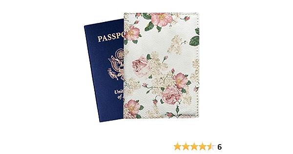 Girl Brunette Kimonos Flowers Tender Leather Passport Holder Cover Case Travel One Pocket