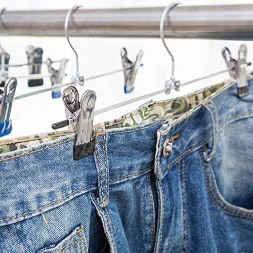 Juanwen 10 Unidades Percha de Hierro Cromado Percha para pantal/ón Perchas de Falda Fuertes Perchas Antideslizante para Pantalones Faldas Calcetines y Ropa Interior con Pinzas