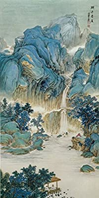 Moutains and Waterfall Oil Painting Reprodution. Based on Famous Traditional Chinese Realistic Painting. (Unframed and Unstretched).