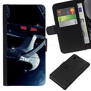 A-type (La nave espacial Enterprise) Colorida Impresión Funda Cuero Monedero Caja Bolsa Cubierta Caja Piel Card Slots Para Sony Xperia Z1 L39