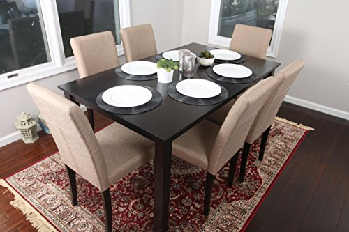 7 pc Light Brown Canvas Black Linen 6 Person Table and Chairs Dining Dinette - 150255 Brown Parson Chair