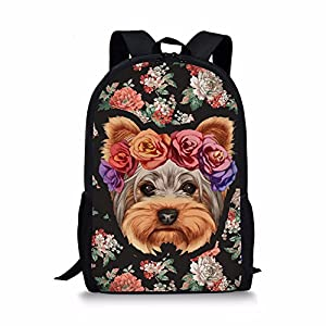 HUGS IDEA Teen Girl Stylish Backpack Yorkshire Terrier Schoolbags Travel Bagpack 2