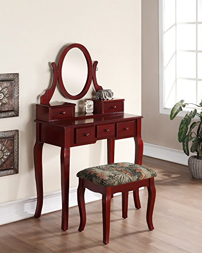 Roundhill Furniture Ashley Wood Make-Up Vanity Table and Stool Set, Cherry (Contemporary Furniture Cherry)