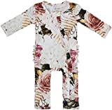 Posh Peanut One Piece Romper Silky Soft & Breathable - Premium Knit Infant Clothing - Bamboo Viscose (Black Rose, 0-3 Months)
