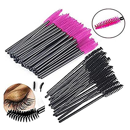 Disposable Eyelash Mascara Wands Brush Set - Black - FREE Mascara Shield Applicator Guard Guide Comb & Beauty eBook - High Quality Eyelash Extension Spoolies Applicators. 50 pc bulk pack - Makeup Tool Kit for Professional MUA - By New8Beauty NEWEIGHTS
