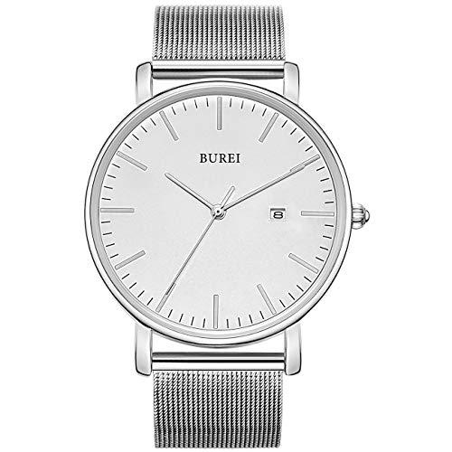 BUREI Men's Watch Ultra Thin Women Quartz Analog Wristwatch Date Calendar Dial Stainless Steel Mesh Band