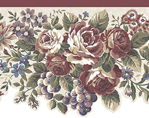 Wallpaper Border Traditional Die Cut Red Rose Floral Grapes Off White Background Grape Pillar