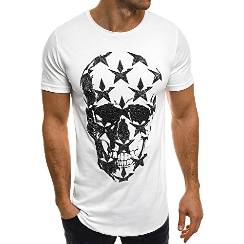 Men's Casual Hipster Star Skull Print Jersey T-Shirt Short Sleeve Crew Neck Tee Tops,S-4XL (S, White)