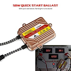 Wayrank 9006 50W HID Xenon Conversion Kit With Premium Slim Quick Start Ballasts - 6000K - 1 Year Warranty