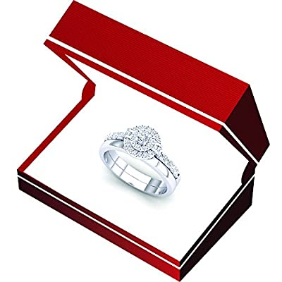 0.45 Carat (ctw) 14K Gold Round & Baguette Diamond Ladies Bridal Halo Engagement Ring Set 1/2 CT
