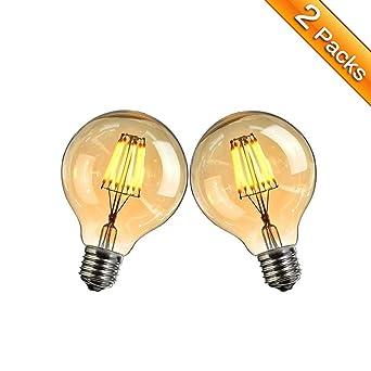 Vintage LED Bombilla Edison, Elfeland E27 6W LED Bombilla Decorativa Lámpara Antigua de Filamento (