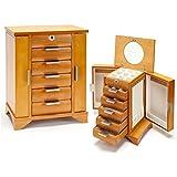 Amazoncom Seya Locking Wooden Jewelry Box Ring Case Storage