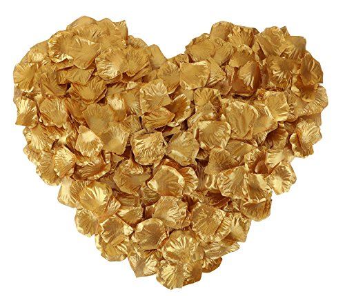 (1000 Pcs Artificial Silk Rose Petals Decoration for Wedding & Bridal Events Gold)