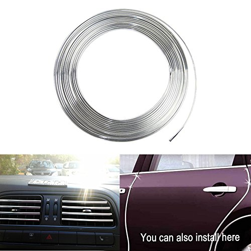Edge Chrome - YIJINSHENG Car Door Trim Edge 8 metres Body Strip Chrome Mold Scratch Guard Protector Air Condition Vent Decoration U Shape(8 metres) (U8M.S)