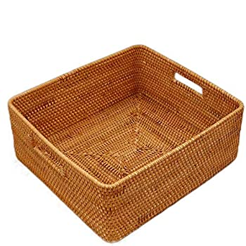 Image of Allenrous Storage Box, Rattan Desktop Storage Box Basket for Clothing Underwear Toy Living Room (Size : 39×36×16cm) Home and Kitchen