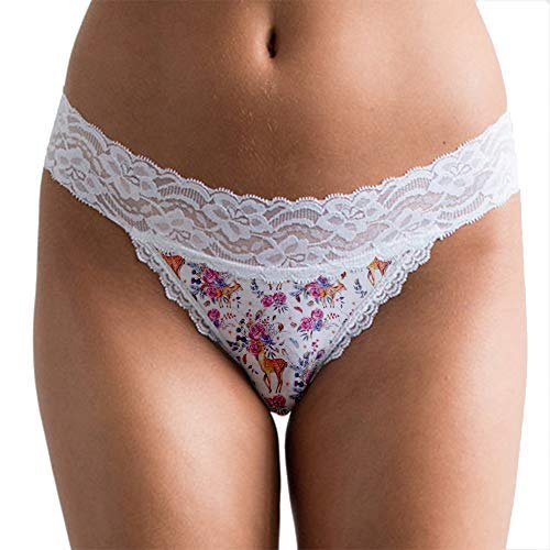 POPCHEEKS Lace Cotton Bikini Panties (Floral Fawn Printed Undies) Women's Underwear - X-Small XSM Misses Size 00 - Size 0 ()