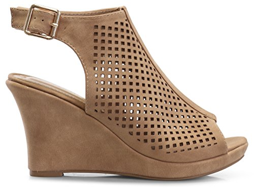 Toe Gladiator Top Wedge Tan Nelly Open Moda 1 Women's 1 fU4YIqU