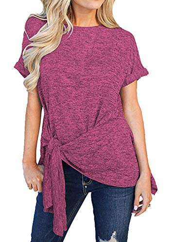 (Women Solid Color Belted Tie Front Tunic Casual Round Neck Short Sleeve Tops Red S)