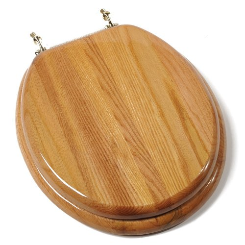 Comfort Seats C1B1R-17BR Designer Solid Wood Round Toilet Seat with Anti-microbial and Brass Hinges, Oak - Pvd Brass Hinges