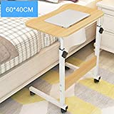 XUEXUE Simple Lazy Bed with Lifting Laptop Table Simple Moving Bedside Computer Desk Height Adjustable Free to Move Stopper Ledge Computer Work Station Student Dorm Home Office,C
