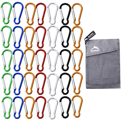 Aluminum Carabiner Clip Keychain - 35 Pack Carabiner Clip Keychain Mini Carabiner Strong Small Carabiner Spring Aluminum Carabiner Outdoor Caribeaners Camping Hiking Hook Traveling Backpack Accessories Random Colors Mixed