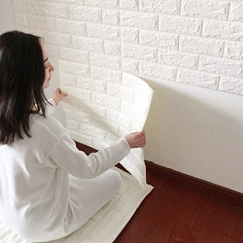Fredhome 23.62 x 23.62 Inches 3D Brick PE Foam Wallpaper, Soft Self Adhesive Wall Panels for TV Walls Sofa Background Home Office Wall Decor (White,5) (Pe Foam)