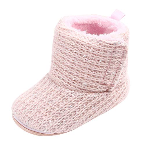 Annnowl Baby Girls Knit Soft Fur Winter Warm Snow Boots Crib Shoes (6-12 Months, Pink)