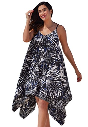 Roamans Women's Plus Size Flowy Dress Coverup Navy,18/20