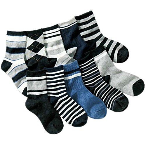Kids Boys Striped Cotton Short Crew Socks Assorted 10-Pack (4-7 Years, Striped)