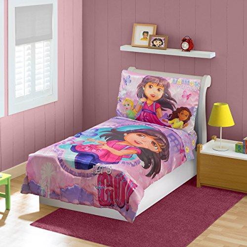 [Dora & Friends Toddler Bedding Set, Pink] (Dora Explorer Toddler Bedding Set)